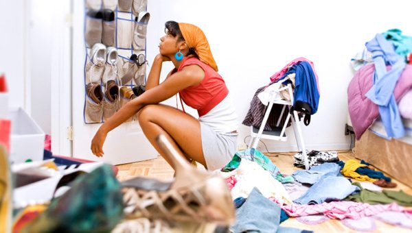 woman in messy room